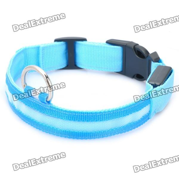 Adjustable 3-Mode Orange Light LED Flashing Dog Neck Collar - Blue (2 x CR2032)