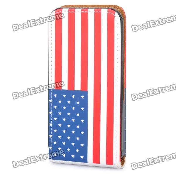 Protective American Flag Leather Case Cover for Iphone 4/4S - White + Red + Blue