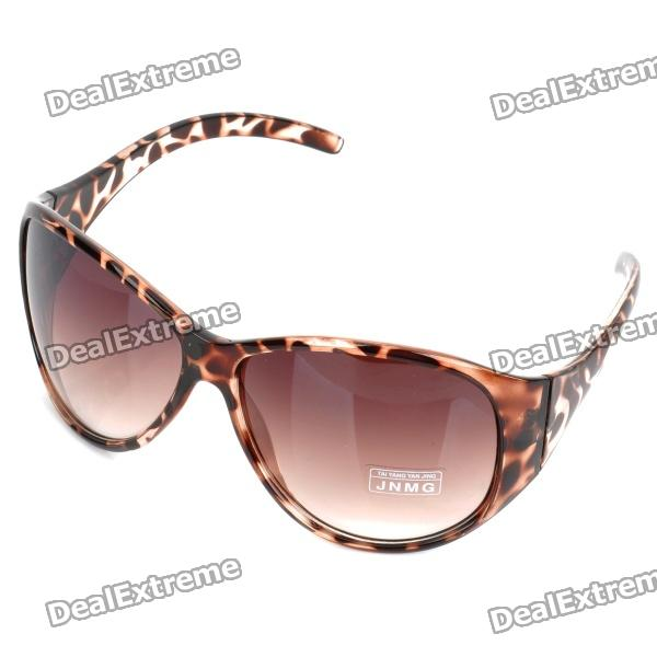 Stylish Plate Frame Resin Lens UV 400 Protection Sunglasses - Leopard Brown