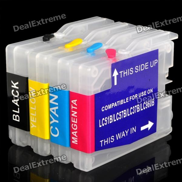Replacement Refillable Ink Cartridges for Brother DCP-130C + More (4-Piece Pack) refillable ink cartridge for brother lc213 for brother mfc j4410dw j4510dw j4610dw j4710dw j470dw j6920dw dcp j4110dw j132w