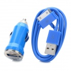 USB Data & Charging Cable + Car Charger for iPhone 4 - Blue (12~24V)