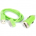 USB Data & Charging Cable + Car Charger for iPhone 4 - Green (12~24V)