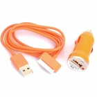 USB Data & Charging Cable + Car Charger for iPhone 4 - Orange (12~24V)