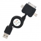 Retractable USB Data & Charging Adapter Cable w/ iPhone / Mini USB / Micro USB Adapters - Black