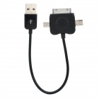 USB Data & Charging Adapter Cable w/ iPhone / Mini USB / Micro USB Adapters - Black (16cm-Length)