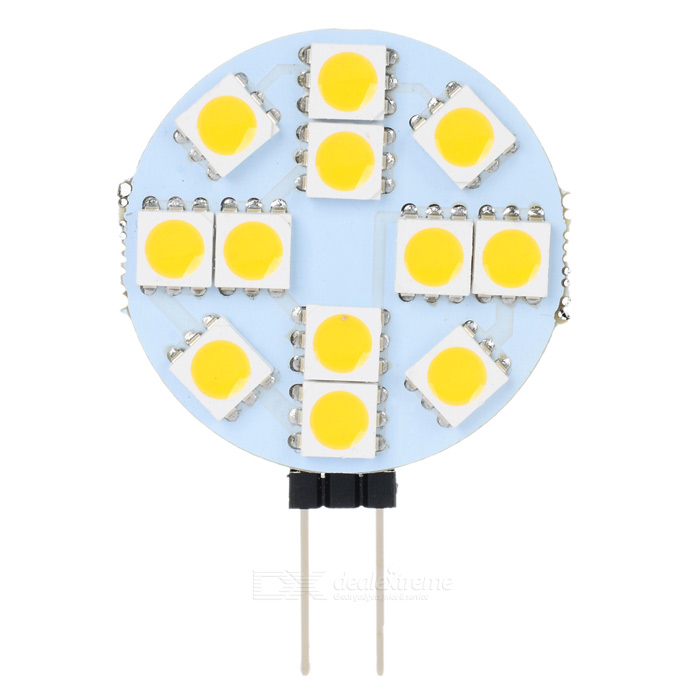 G4 1.4W 18LM Warm White Light 12*5050 SMD LED Plate Module (DC 12V)G4<br>Material:PVCForm  ColorWhitePower4WRated VoltageDC 12Connector TypeG4Emitter TypeLEDTotal Emitters:12PowerColor BINYellowBeam Angle:360Packing List<br>