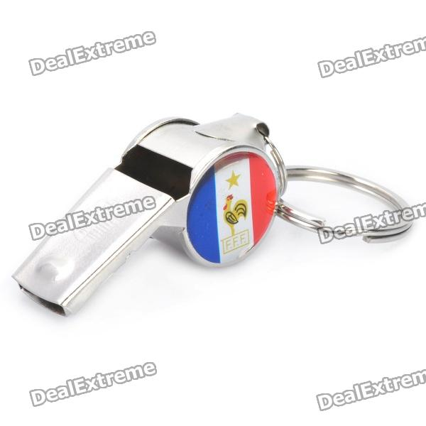 UEFA Euro 2012 Metal Whistle Keychain with France Team Logo Image Pattern