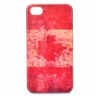Worn Look Canada National Flag Pattern Protective PC Back Case for Iphone 4S - Red