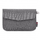 Crocodile Grain Pattern Protective PU Leather Case with Strap for Samsung P1000 - Grey