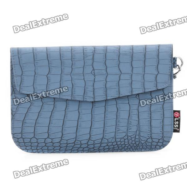 Crocodile Grain Pattern Protective PU Leather Case with Strap for Samsung P1000 - Blue