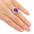 Stylish Water Drop Style Artificial Crystal Copper Aluminum Alloy Ring - Purple (16.4mm-Diameter)