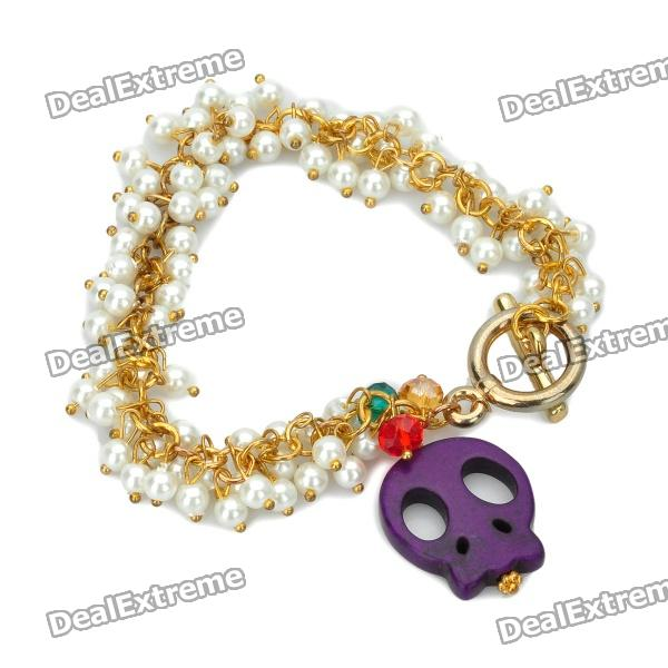 Skull Head Pendant Artificial Pearl Bracelet - Purple женское платье gl crewneck