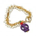 Skull Head Pendant Artificial Pearl Bracelet - Purple