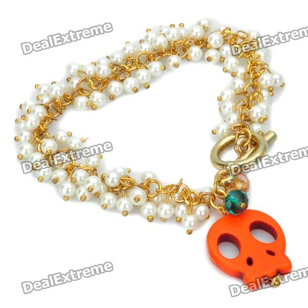 Skull Head Pendant Artificial Pearl Bracelet - Red