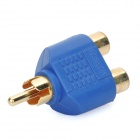 Gold Plated RCA Male to 2 RCA Female Adapter - Blue