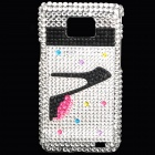 Shining Acrylic Diamond Protective Plastic Case for Samsung i9100 - Silver + Black