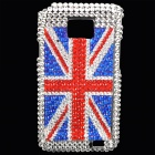 Fashion UK Flag Style Acrylic Diamond Protective Plastic Case for Samsung i9100
