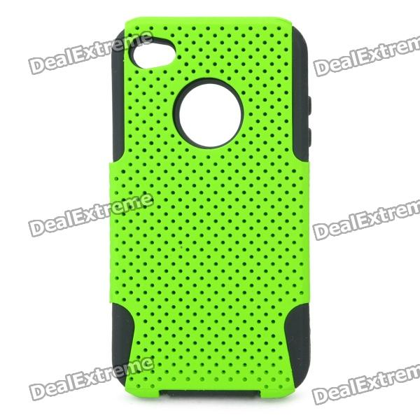Protective Plastic + Silicone Back Case for Iphone 4 / 4S - Green protective plastic silicone back case for iphone 4 4s red
