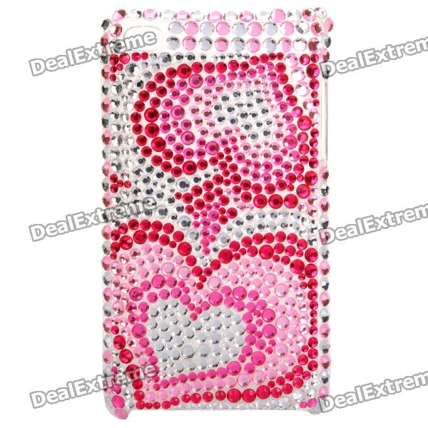 Shining Heart Pattern Acrylic Diamond Protective Plastic Case for   Ipod Touch 4 - Silver + Pink