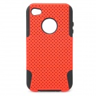 Protective Plastic + Silicone Back Case for Iphone 4 / 4S - Red