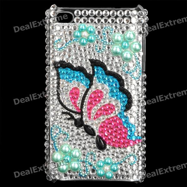 Shining Butterfly Pattern Acrylic Protective Plastic Case for   Ipod Touch 4 - Silver + Blue