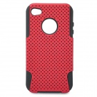 Protective Plastic + Silicone Back Case for iPhone 4 / 4S - Dark Red