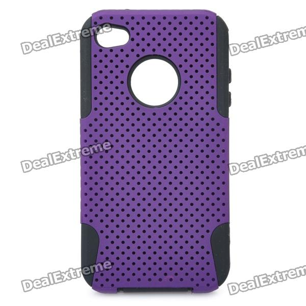 Protective Plastic + Silicone Back Case for Iphone 4 / 4S - Purple protective plastic silicone back case for iphone 4 4s red