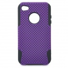 Protective Plastic + Silicone Back Case for Iphone 4 / 4S - Purple