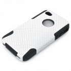 Protective Plastic + Silicone Back Case for Iphone 4 / 4S - White