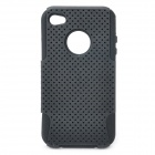 Protective Plastic + Silicone Back Case for iPhone 4 / 4S - Black
