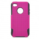 Protective Plastic + Silicone Back Case for iPhone 4 / 4S - Deep Pink