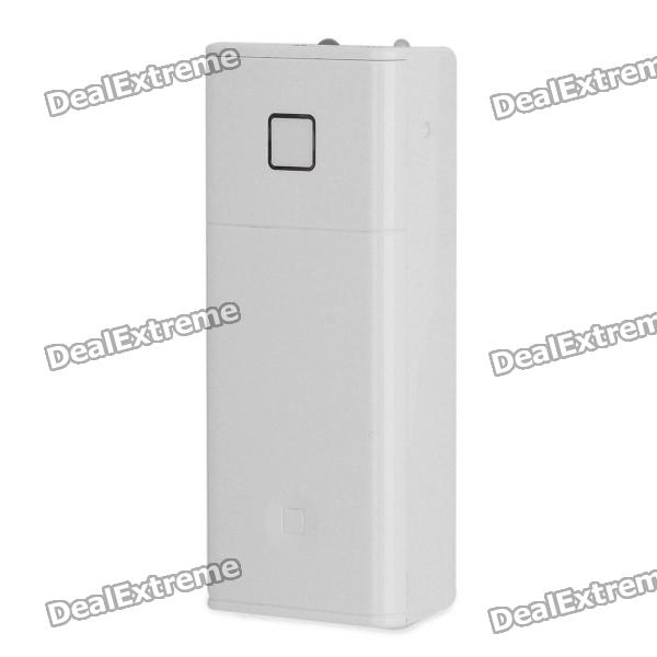 2 x 18650 Powered Backup Battery Case w/ 1-LED / USB Port for Cell Phone + More - White for iphone 5s 5 lines texture tpu cover removable plastic frame grey