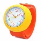 Cute Silicone Slap Band Quartz Wrist Watch - Yellow + Orange (1 x AG4)