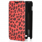 Fashion Leopard Print Protective PU Leather Case w/ ABS Holder for Samsung i9220 - Red