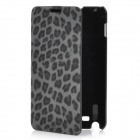 Fashion Leopard Print Protective PU Leather Case w/ ABS Holder for Samsung i9220 - Grey