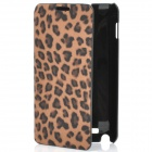 Fashion Leopard Print Protective PU Leather Case w/ ABS Holder for Samsung i9220 - Brown