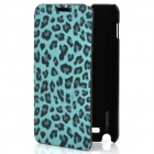 Fashion Leopard Print Protective PU Leather Case w/ ABS Holder for Samsung i9220 - Blue