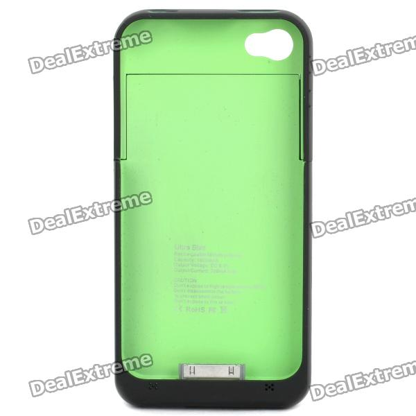 Rechargeable 1900mAh External Battery Back Case for iPhone 4 / 4S - Black