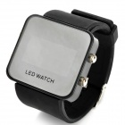 Fashion Mirror Display Silicone Band Digital LED Wrist Watch - Black (1 x CR2032)