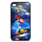 3D Planet Image Style Protective Cover Case for iPhone 4 / 4S - Black + Blue