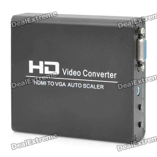 Single Way HDMI to VGA Auto Scaler Video Converter - Black voxlink vga to hdmi scaler converter box 4kx2k 1080p output supporting multi vesa standard vga formats input