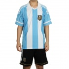 Argentina Football Team Home Jersey Shirt & Shorts Set - Blue + White + Black (Size M)