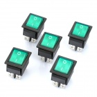 6-Pin Rocker Switches with Green Light Indicator (5-Piece Pack)