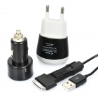 Car/AC Powered USB charger with 3-in-1 Data Cable - White + Black