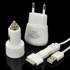 Car/AC Powered USB charger with 3-in-1 Data Cable - White