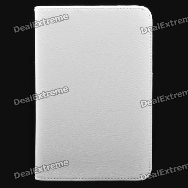 Protective PU Leather Stand Holder Case for Samsung P6200 Galaxy Tab 7.0 Plus - White