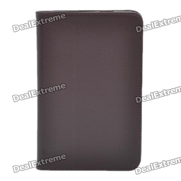 Protective PU Leather Stand Holder Case for Samsung P6200 Galaxy Tab 7.0 Plus - Coffee