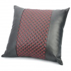 Soft Leather + Silk Floss Throw Pillow - Red + Black