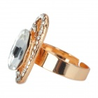 Stylish Oval Style Artificial Crystal Copper Aluminum Alloy Ring - Silver (17.3mm-Diameter)