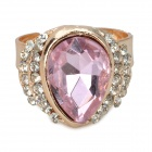 Stylish Water Drop Style Artificial Crystal Copper Aluminum Alloy Ring - Pink (16.4mm-Diameter)